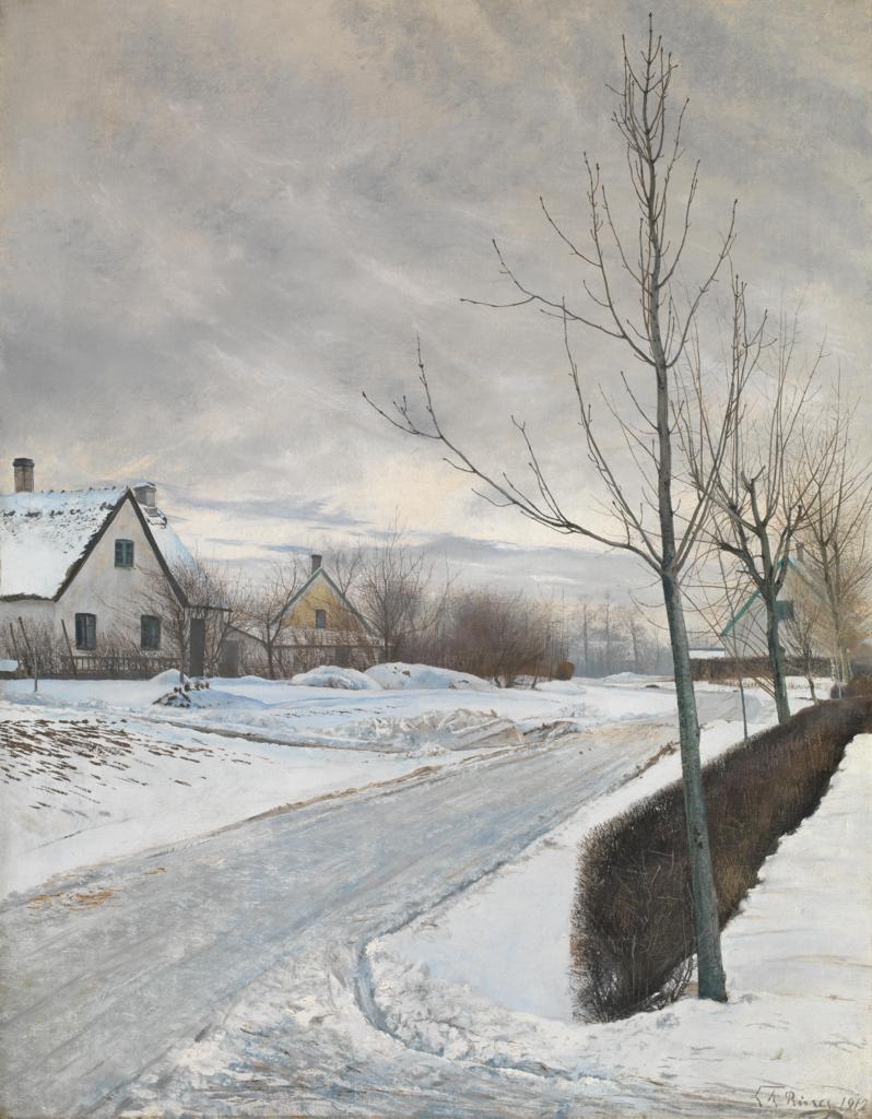 L.A. Ring, Road in the Village of Baldersbrønde (Winter Day), 1912